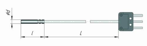 Датчик температуры в виде гильзы 50М, Pt1000, Pt100, 100П