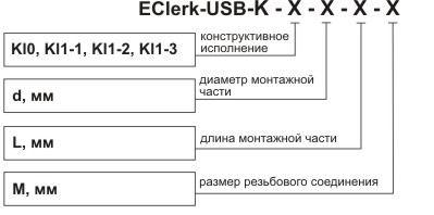 Обозначение при заказе даталоггера температуры EClerk-USB-K-Kl